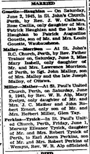 1945 weddings