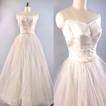 1950s tulle wedding gown