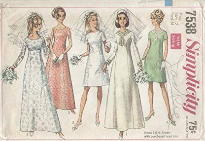 1960 wedding dress patterns