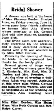 Ada Warren shower 1953
