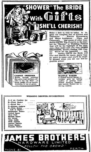 bridal gifts 1957