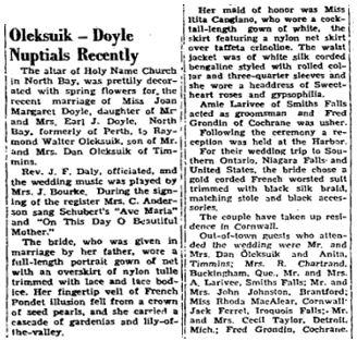 Doyle wedding 1953