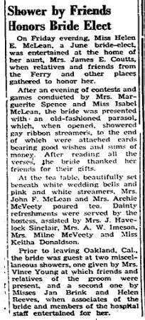 Helen McLean shower 1951