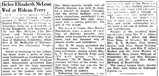 Helen McLean wedding 1951