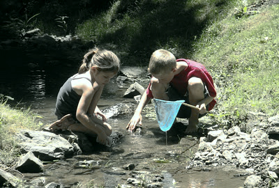 kids at the creek
