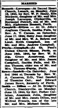 married 1944 June 22 Perth Courier