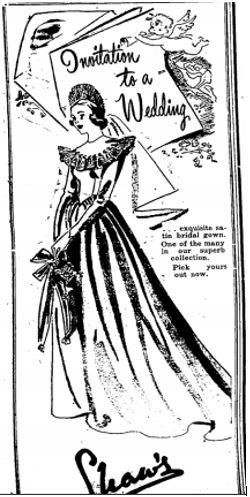 Shaws wedding gowns 1948