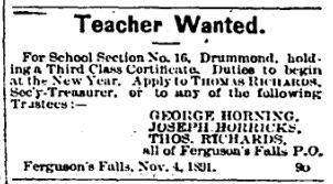 Ferguson Falls ad for teacher Nov 6 1891 p 5