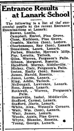 Ferguson Falls Entrance exams July 10 1925 p 1