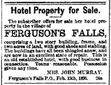 Ferguson Falls hotel for sale March 7 1890 p 7
