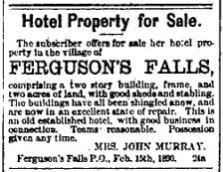 Ferguson Falls hotel for sale March 7 1890 p 7