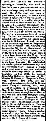 Ferguson Falls McGarry obit Feb 9 1912 p 1