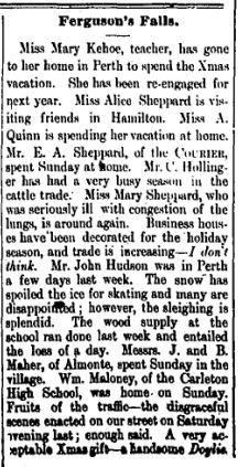Ferguson Falls news Dec 24 1897 p 1
