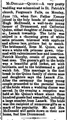 Ferguson Falls Quinn McDonald wedding June 18 1909