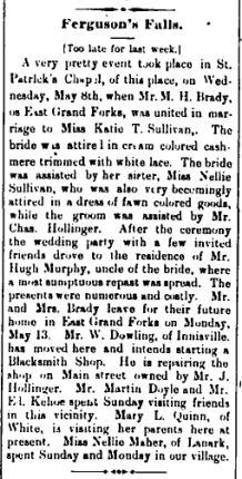 Ferguson Falls Sullivan Brady wedding May 17 1895 p 8