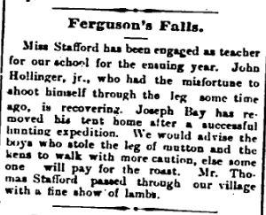Ferguson Falls teacher Mary Stafford Nov 10 1893 p 4