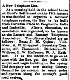 Ferguson Falls telephone line Jan 29 1909 p g