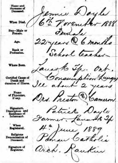 Jennie Doyle death certificate 1888