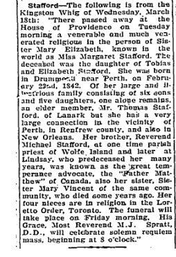 Margaret Stafford obit 1925