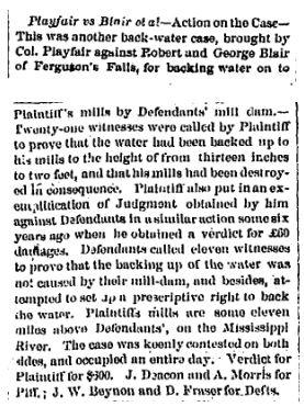 Playfair vs Blair dam at Ferguson Falls