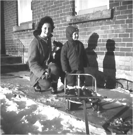 Judy and Arlene with sled