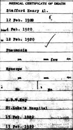 Harry Stafford death certificate