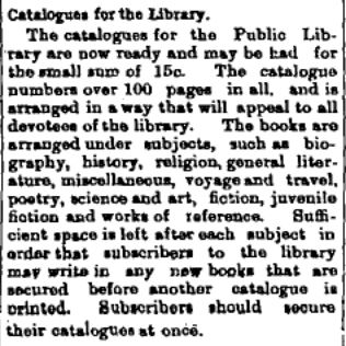 Perth library catalogues 1908