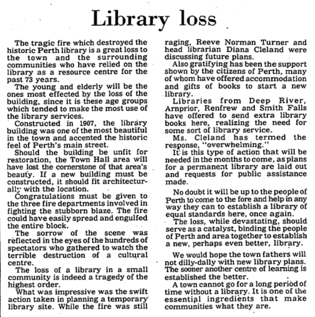 Perth library loss - Editor