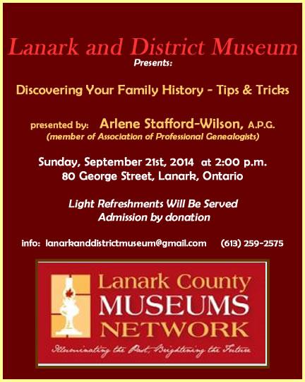 Lanark Museum guest speaker Sept 2014