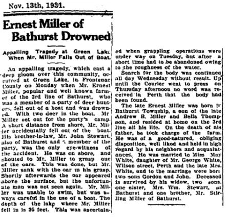 Ernest Miller drowns 1931