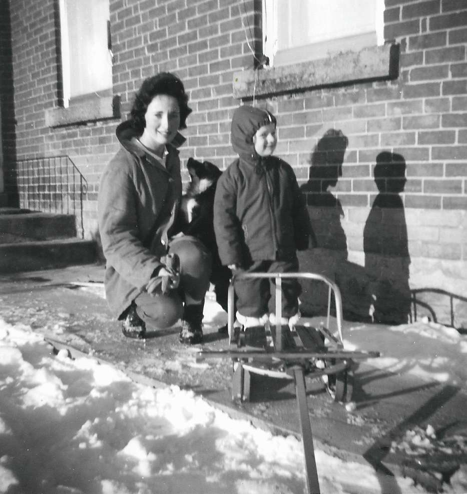 Judy and Arlene at the front steps