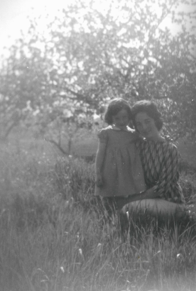 Judy and Arlene in the orchard