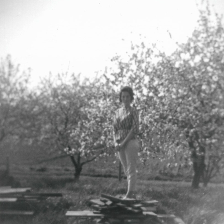 Judy in the apple orchard