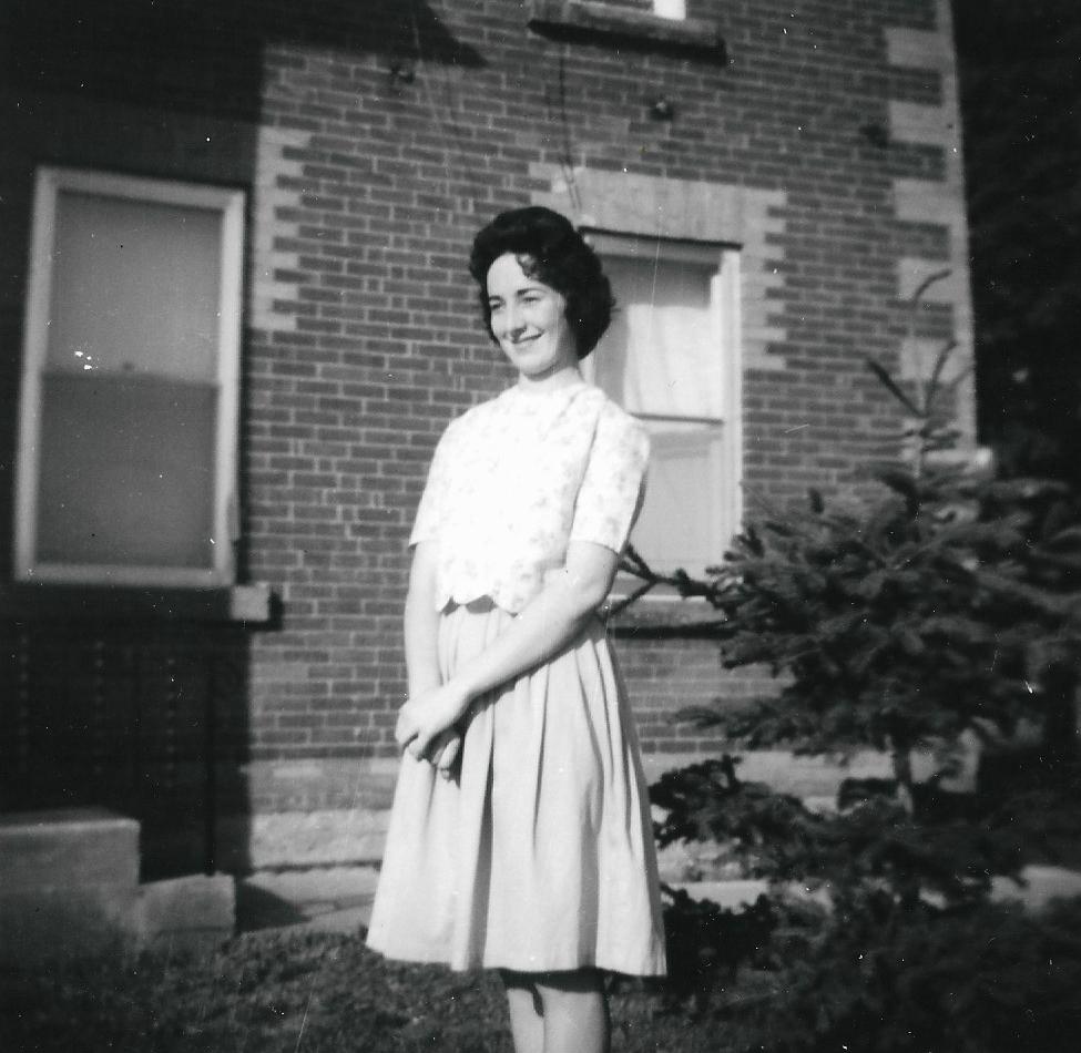 Judy near the spruce tree