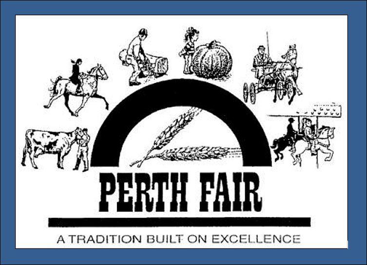 Perth Fair logo on blue