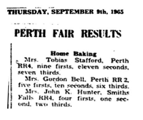 Perth Fair results 1965