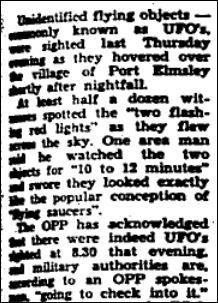 UFO OPP sightings