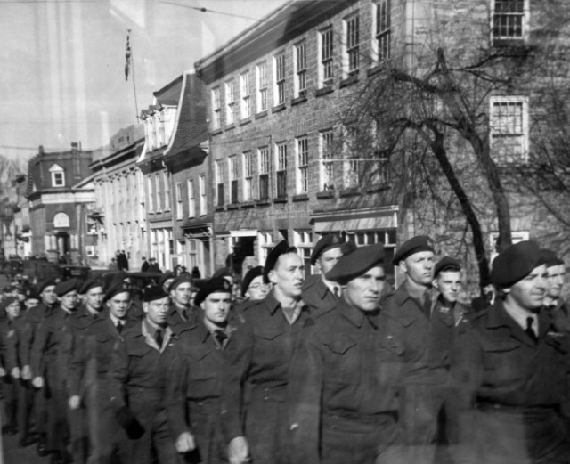 Soldiers marching down Gore St