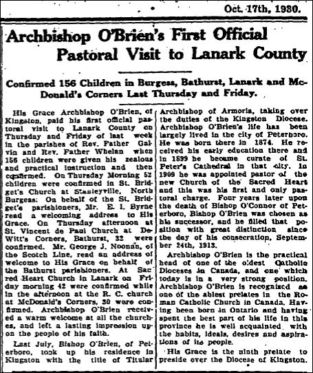 ArchbishopannouncementPerthCourierOCt171930p6