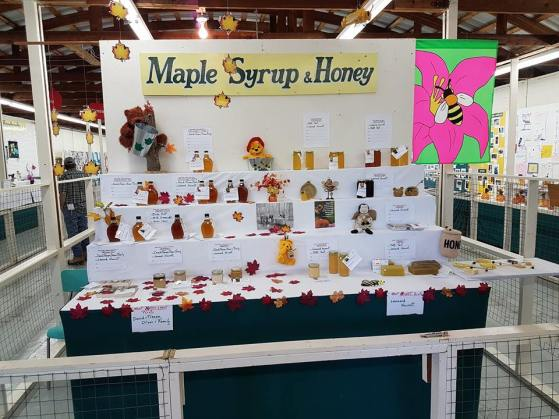 maple syrup and honey display