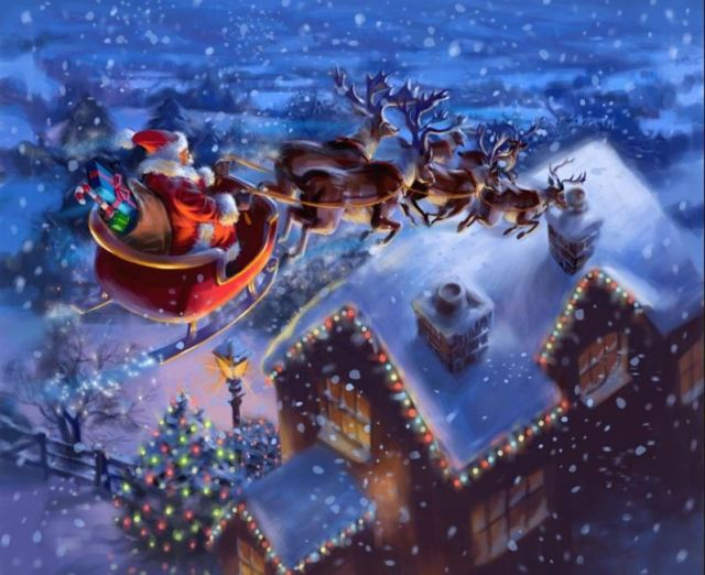 Santa and the reindeer flying