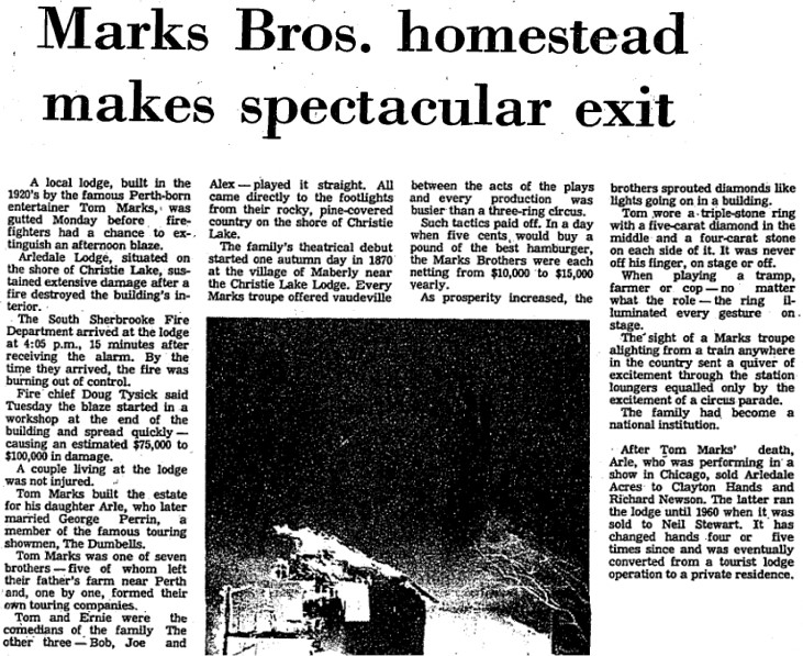 Arliedale article on fire Jan 31 1979 p.1 The Perth Courier