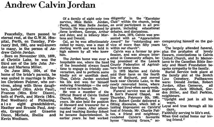 Calvin Jordan obit