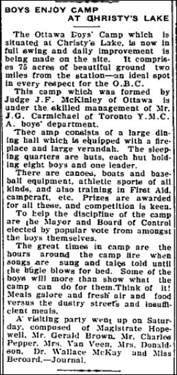 Christie Lake Boy's camp July 20 1923 page 5