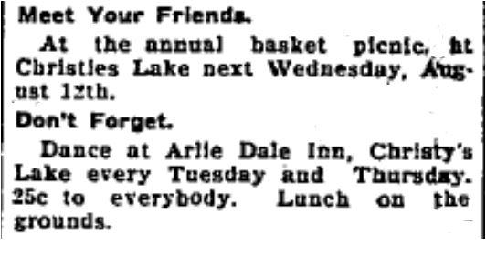 Christie Lake dance Arliedale 1931