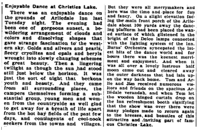 Christie Lake Dance July 10 1931 p 1