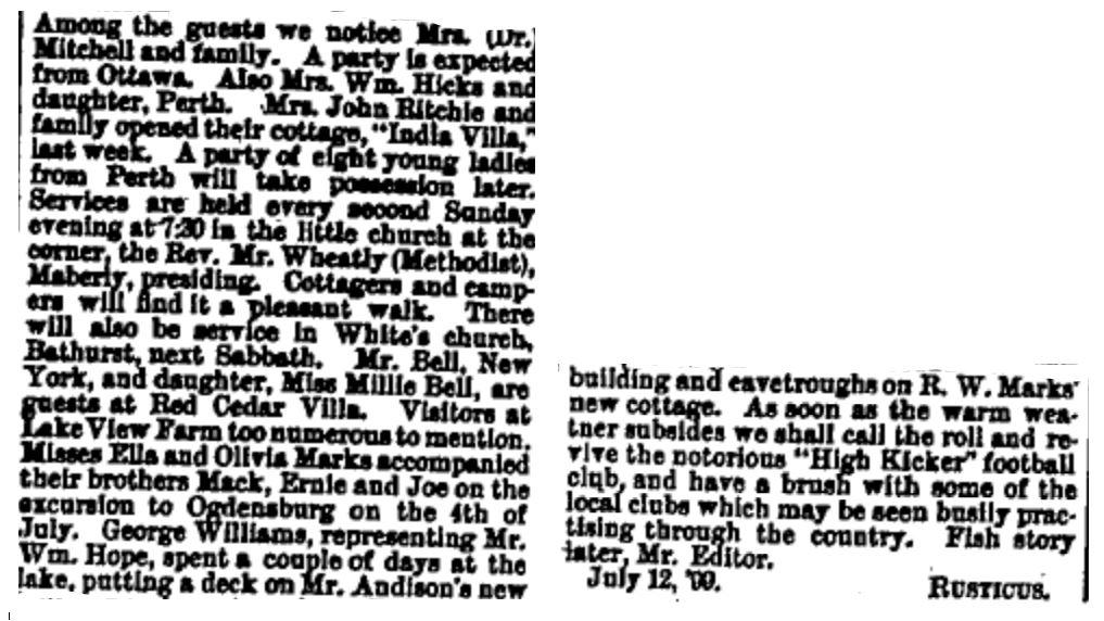 Christie Lake news July 14 1899 p 5 part 2