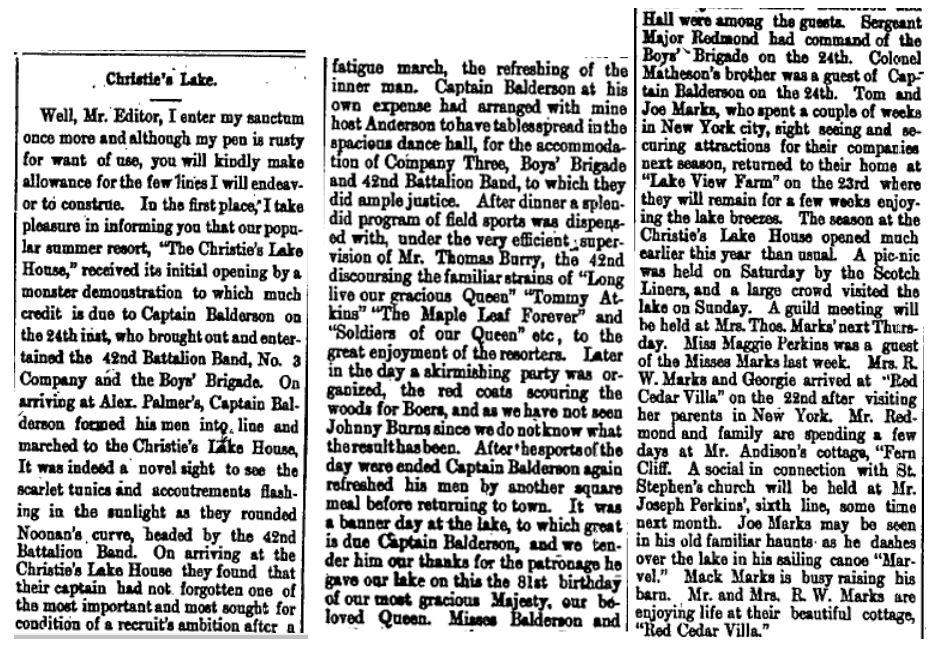 Christie Lake news June 1, 1900 p 1