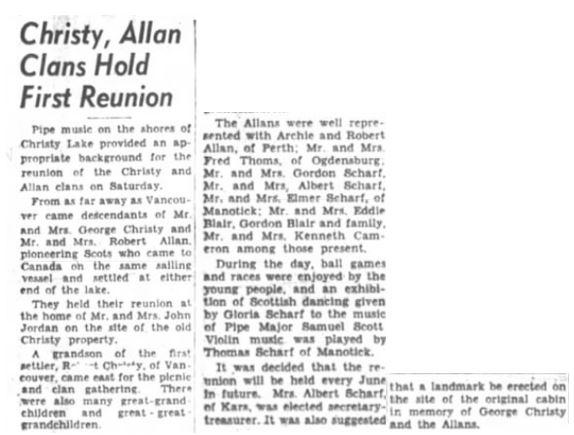 Christy Allan reunion 1954 Jun 8 p. 3 Ottawa Journal
