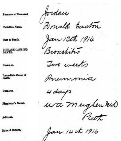 Donald Easton Jordan 1916 death cert.